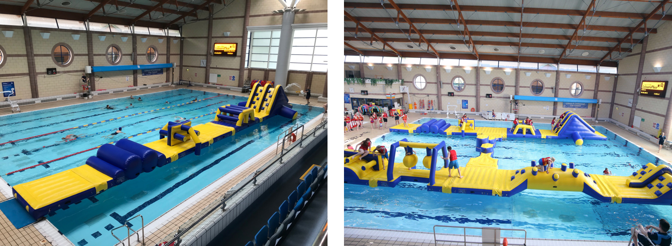 Images of inflatable activity in swimming pool
